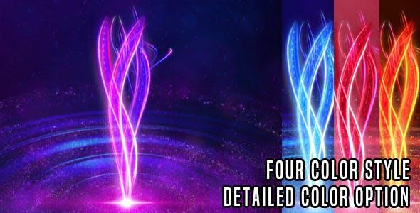 AE模板-漂亮唯美粒子发光线条LOGO标志片头动画 Light Streaks Logo Revel V1