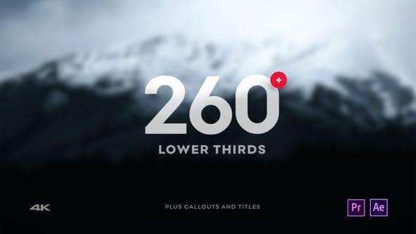 AE/PR模板-260个独特渐变标注图标字幕条标题动画 Lower Thirds