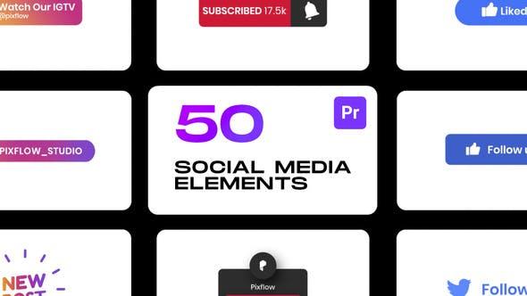 PR脚本-92个社交媒体视频网站点赞订阅关注图形元素动画 Social Elements for Premiere Pro