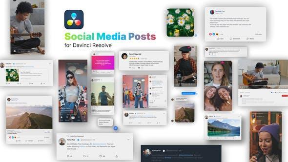 达芬奇模板-社交媒体交友平台元素包装动画 Social Media Posts