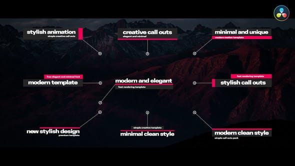 达芬奇模板-创意优雅指示线呼出文字标题介绍动画 DaVinci Resolve