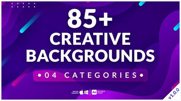 AE模板-85种创意彩色渐变图形循环背景动画 Creative Backgrounds